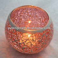 pink mirror mosaic candle holder ,crackle mosaic glass candle holder