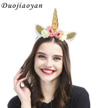 Wholesale Artificial Flower Hair Band Party Halloween Glitter Cat Ears Flower Unicorn Headband For Girls Baby