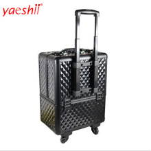 yaeshii professional luxury aluminum travel trolley makeup train case