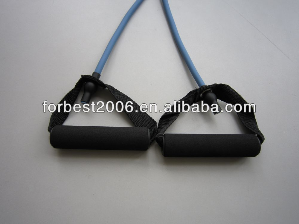 Natural rubber latex tube for training with foam handles