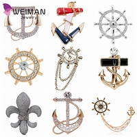 Vintage gold plated Anchor brooch pins men crystal rhinestone boat rudder brooches jewelry collar brooches for women