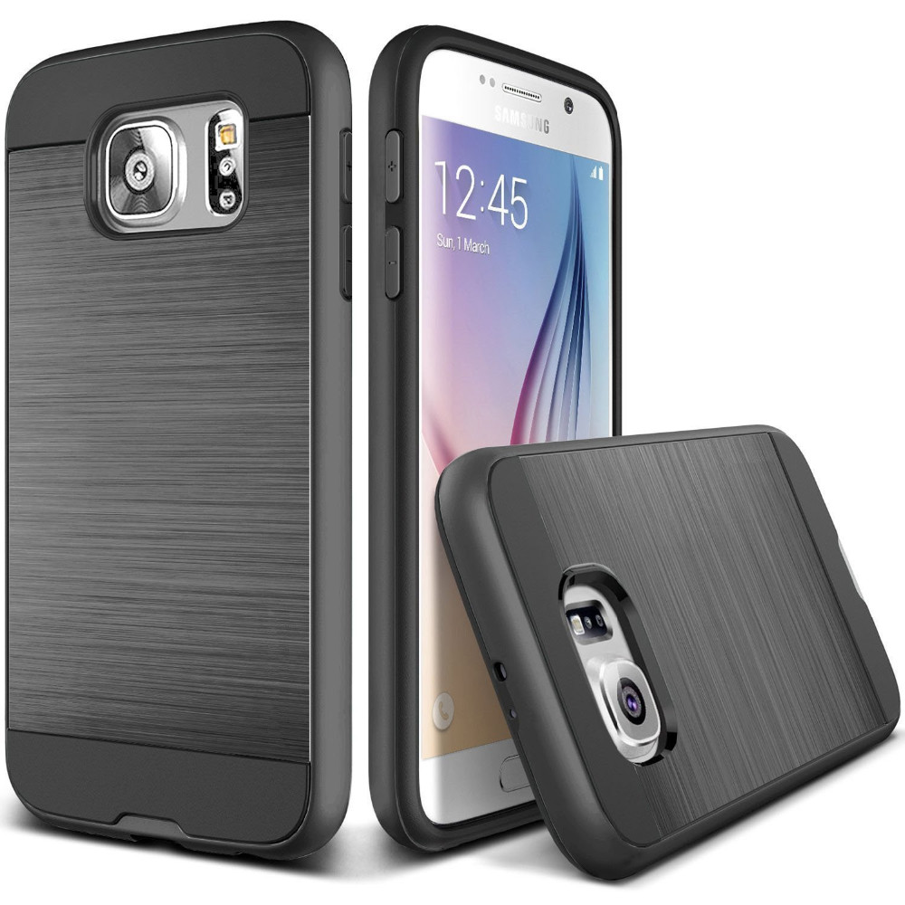 C&T Hybrid Dual Layer Shock Absorption Brushed Metal Slim Cover Case for Samsung S7