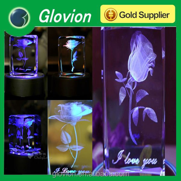 Romantic crystal rose gift wedding crystal rose wedding favors light-up artificial flower