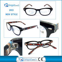 Newest design colorful pattern frame and temple meet CE/FDA metal hinge reading glasses with matched bag BRP3868