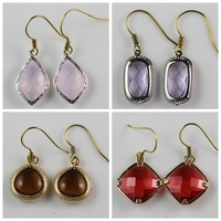Ice Pink Glass Imitation Zircon Stone Charms Fish Hook Drop Earring
