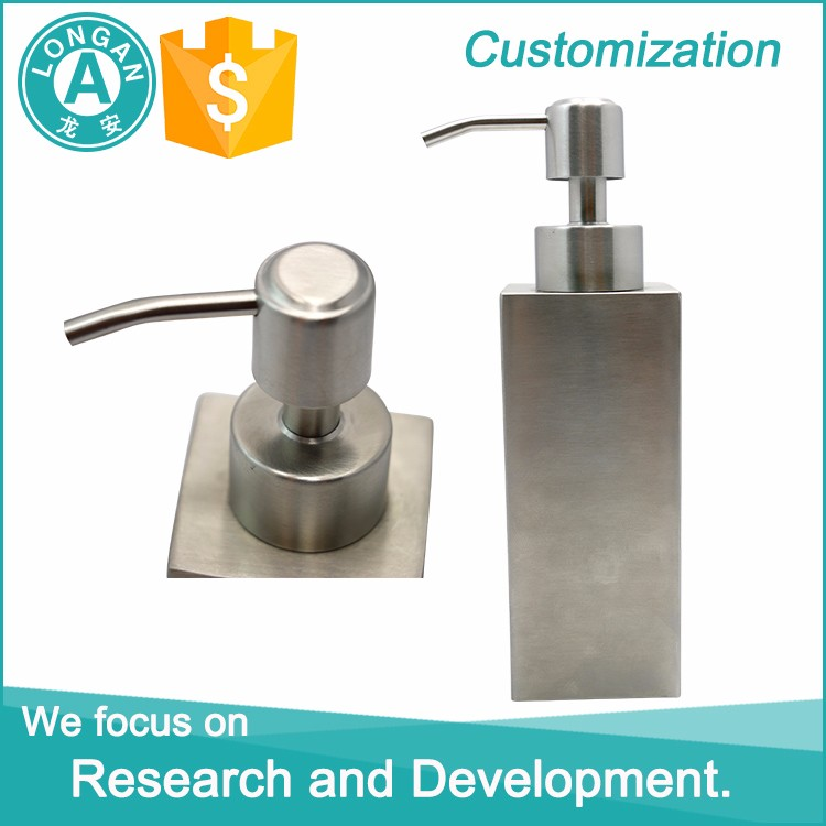 Top sale custom supplier bathroom square liquid lotion bottle / metal soap dispenser