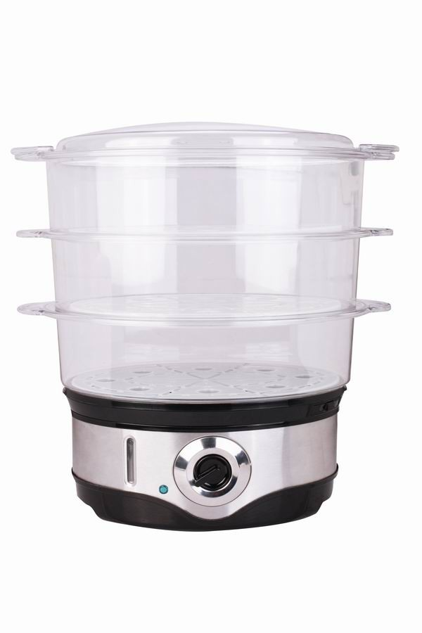 XJ-12818B 3 layer steamer cooker 10L capacity ,external water filter ,bpa free steamer 3-layer stainless steel electric steamer