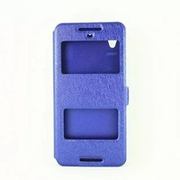 Dual window view leather flip case for htc desire 626 stand case cover