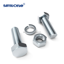DIN933 standard size hex bolt nut with spring washer small and large diameter