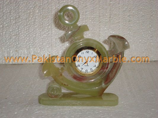 POLISHED GREEN ONYX TABLE CLOCKS