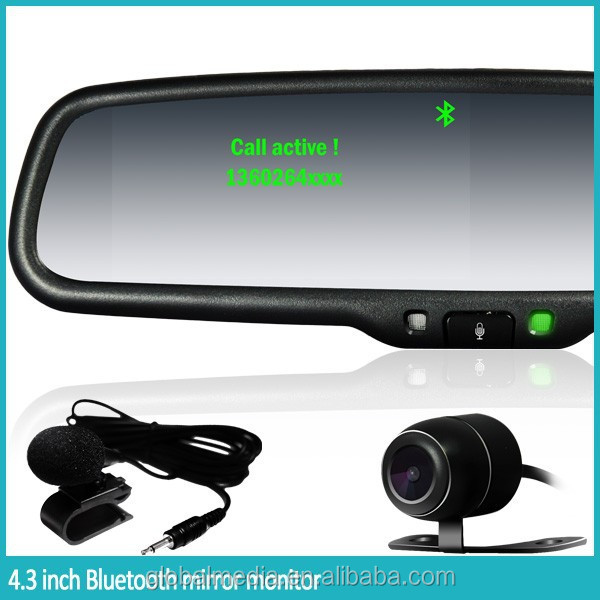 Bluetooth hands free car kit 4.3inch digital rearview Mirror monitor with rear camera display for any car