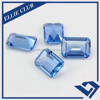Hot sale semi precious stone rectangle emerald cut synthetic blue spinel