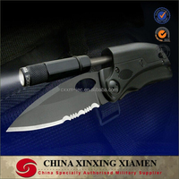 military survival knife with Magnesium fire starter and LED flash light
