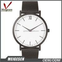 China Factory Luxury Design Branded Mesh Steel Band Men Quartz Watch Simple