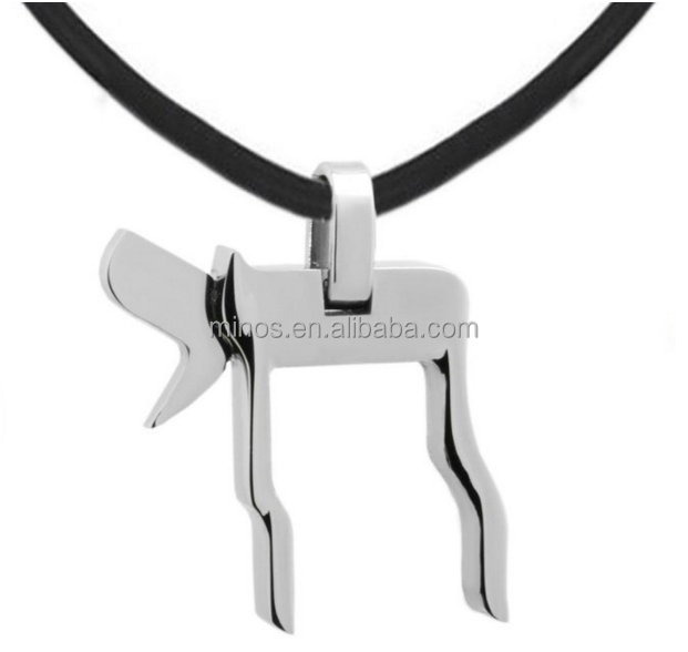 Stainless Steel Chai Judaica Jewish Charm Pendant Shema Israel Rubber Necklace