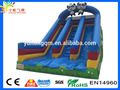 Outdoor tarpaulin giant animal panda inflatable dry slide kids double lane slide for sale