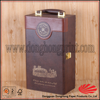 Leather wood two bottles wine carrier