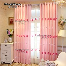 Popular design with pink ready made chenile embroidery curtain fabric blackout