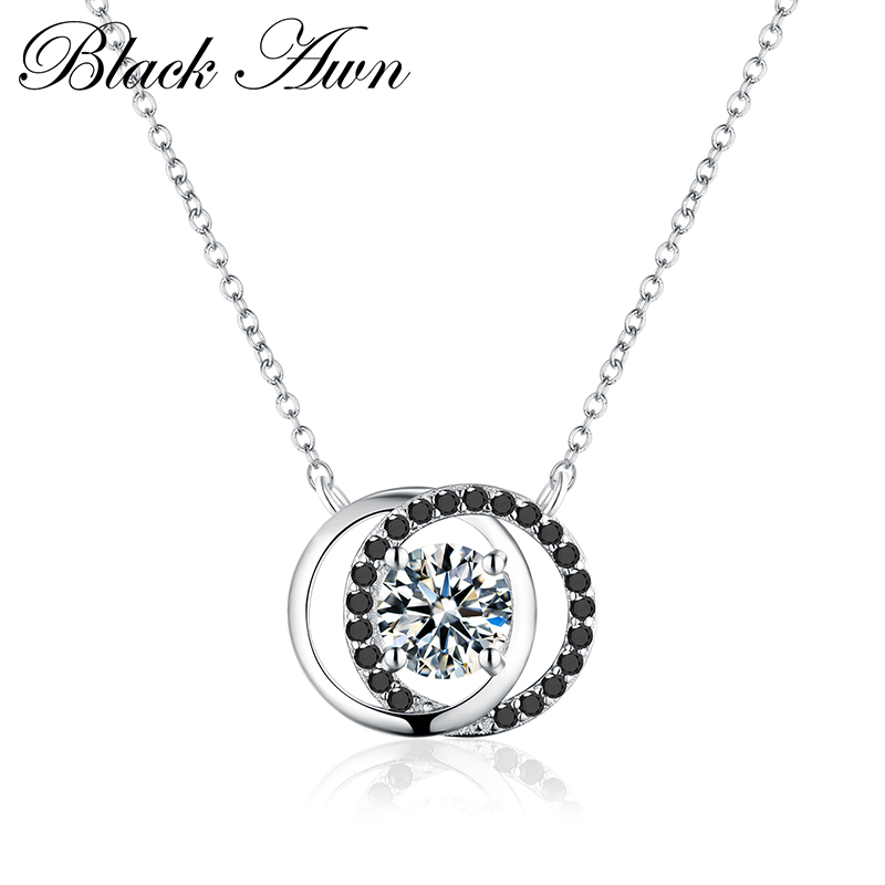 [BLACK AWN] Fine Genuine 925 Sterling Silver Jewelry 1.3Ct Two Rung Trendy Black&amp;White Stone Necklace Women <strong>P003</strong>