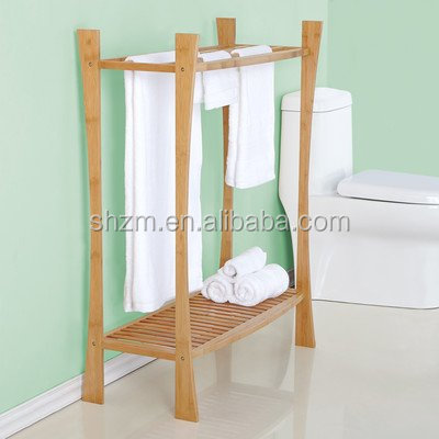 New design Handmade Bamboo Towel Rack Towel Rail Bathroom Accessories