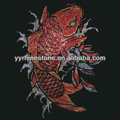 Koi fish iron on rhinestone motif transfer