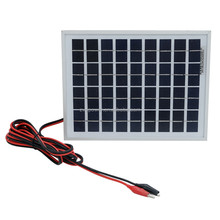 5W polycrystalline silicon solar panel + 1 meter wire + alligator clip for 12V Battery charger