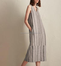 100% Linen Stripe Sleeveless Casual Outfits Striped Summer Dress