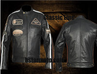 MOTORCYCLE LEATHER JACKET NOIR