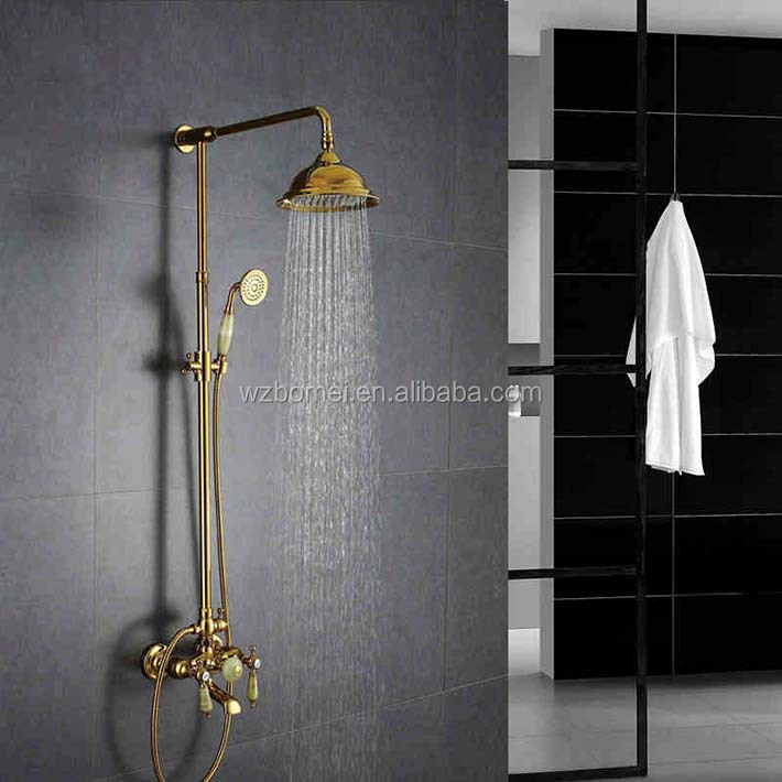 Gold plating shower mixer set with rainfall 8 inch brass shower head , ceramic handle , jade mixer