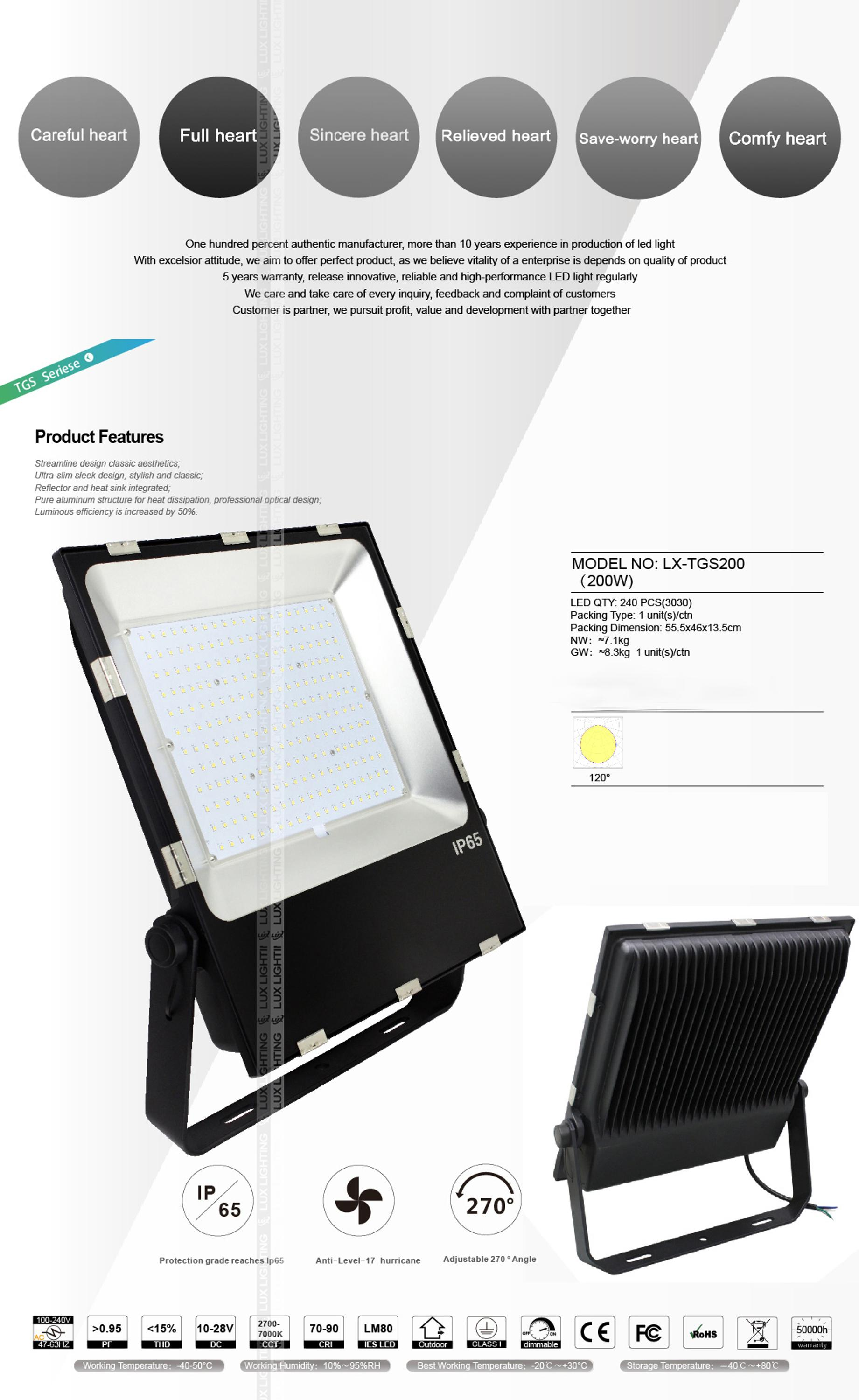 TGS200 slim floodlight Meanwell driver