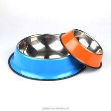 Large supply of stock 4 colors 7 size colourful stainless steel pet dog bowl