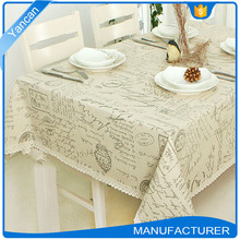 Letters Print Polyester Fabric Beige Lace Tablecloth