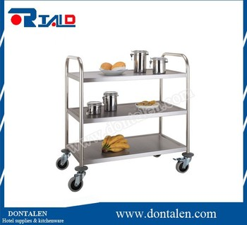 Stainless Steel Kitchen Trolley 3 Tier Restaurant Food Service Cleaning Cart NEW
