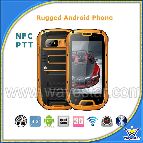 2014 New Mobile Phone Water Proof 4.3 inch MTK6589 Quad Core Android 4.2 1G/4G GPS NFC Tri Proof IP67