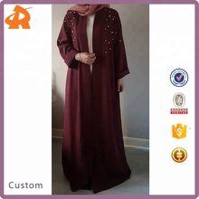Latest Fashion Dubai <strong>Muslim</strong> <strong>Abaya</strong> Kimono with White Pearls Long Dresses Arabic Style
