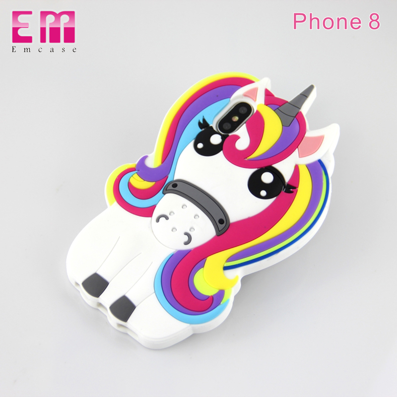wholesale cell phone case for Apple Iphone 5s 6 6s 6plus back cover, 3D unicorn cover for Apple iphoneX