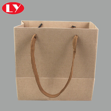 Custom make brown corrugated paper packaging bag with handle