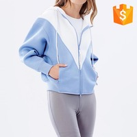 autumn winter soft zip up blue and white long sleeve hoodies