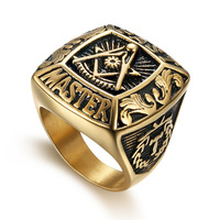 Good Quality Custom Gold Plated Stainless Steel Jewelry Master Championship Mason Masonic Rings For Men