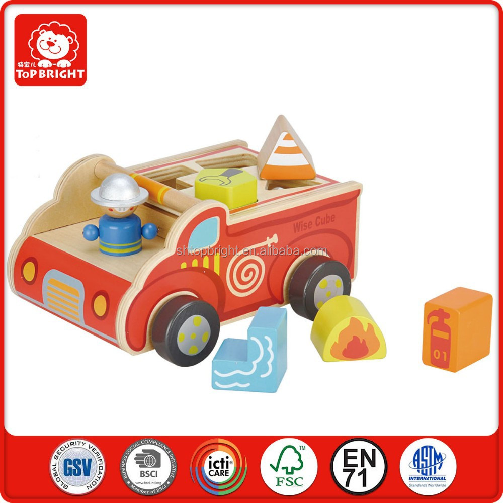 Wholesale cheap china toys children park toys fire engine shape sorter wooden baby toys