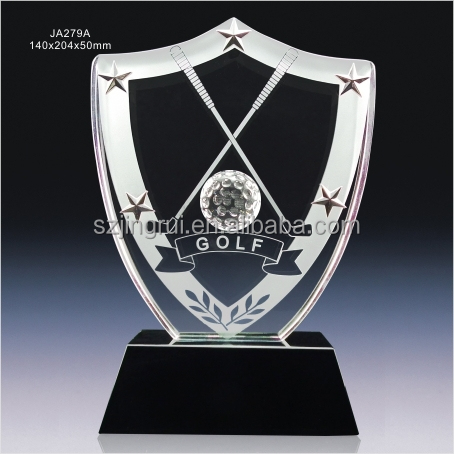 Shield shape crystal glass award golf trophy statue