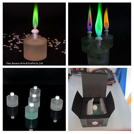 2016 latest high-quality color liquid flame candle for outdoor bars