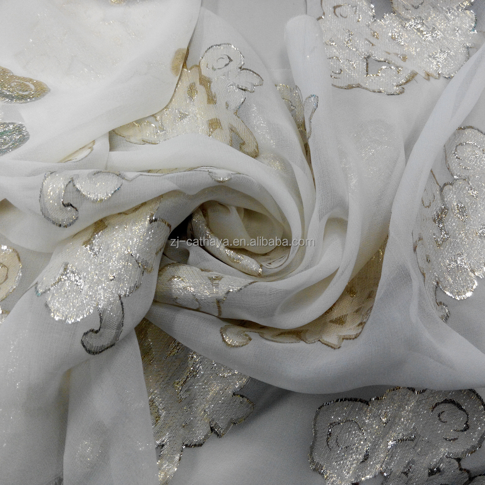 Newly Developed Silk Lurex Metallic Floral Jacquard Fabrics