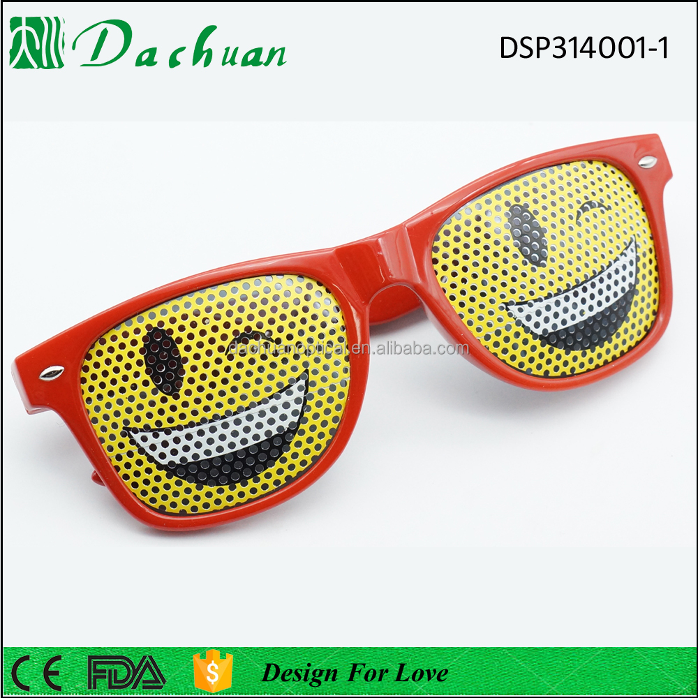 Custom promotional own logo printed lens pinhole sticker sunglasses wholesale, custom logo pinhole sunglasses for party