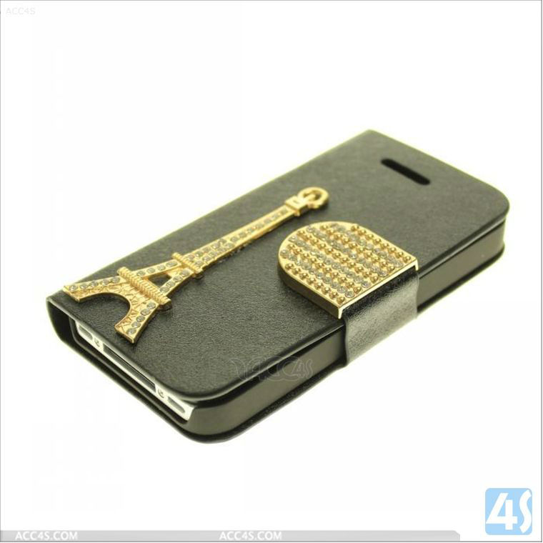 Bling Luxury Diamond Buckle Wallet Leather Case with Iron Tower for iPhone 4/4S P-iPHN4SCASE035