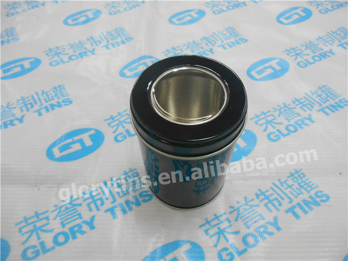 small round packaging tea box with window