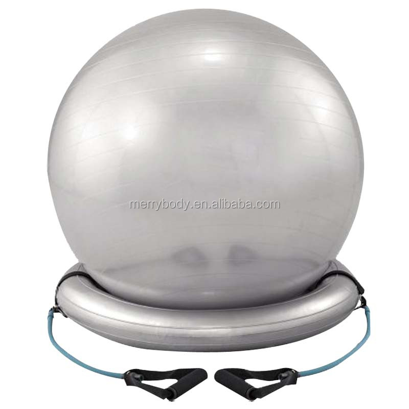 Wholesale round gym ball with handle and base
