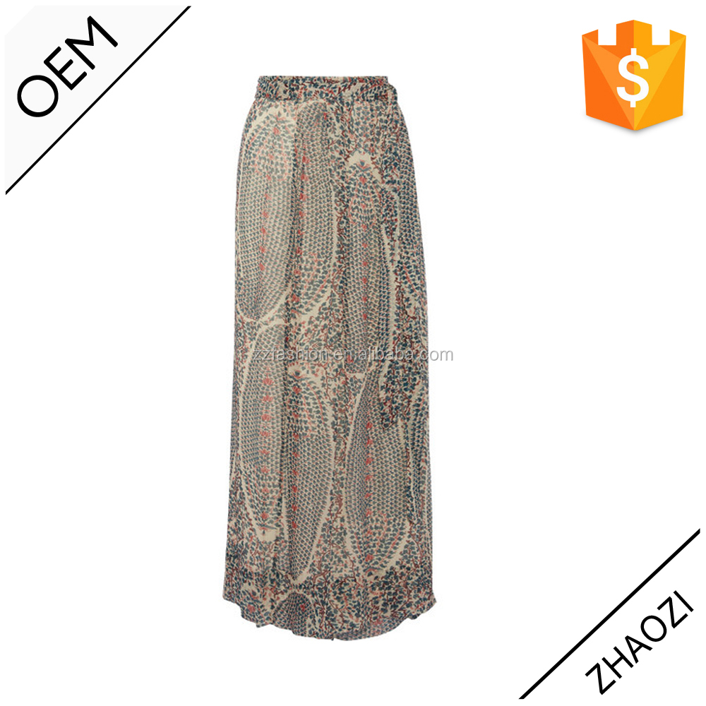 2015 floral print maxi skirt mature women in thigh highs 100% silk chiffon skirt