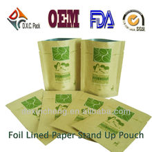 Brown Paper Bags For Food In Stand Up Style Lined Foil
