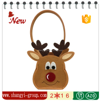 XM9-29 High quality Christmas decoration felt reindeer shape tote gift bag